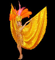 Gold showgirl at Le Clique party planners party